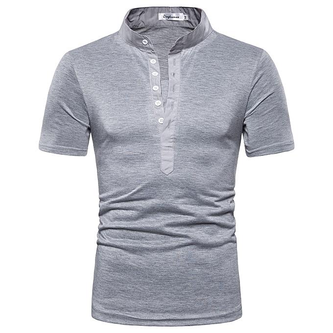 mode Hommes& 039;s Pure Couleur Button  rayé Splice Décontracté Sport Lapel  manche courte Shirt à prix pas cher