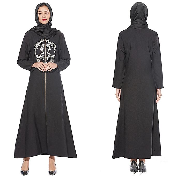 Fashion Hiamok MyBatua Abaya with Hijab Jilbab Islamic Clothing Maxi Muslim Embrodiery Dress à prix pas cher