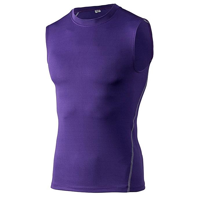 Other Men's Muscle Gym Sleeveless Tank Top Bodybuilding Sport Fitness Vest -violet à prix pas cher