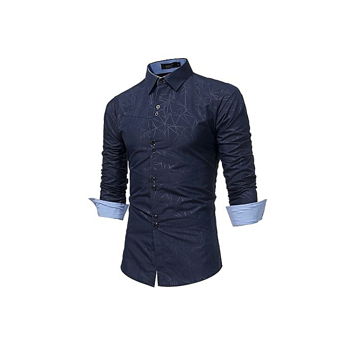 Generic Refined Hommes& 039;s Leisure Shirts manche longued Shirts Geometry impression Slim grand Taille Personality Shirts à prix pas cher