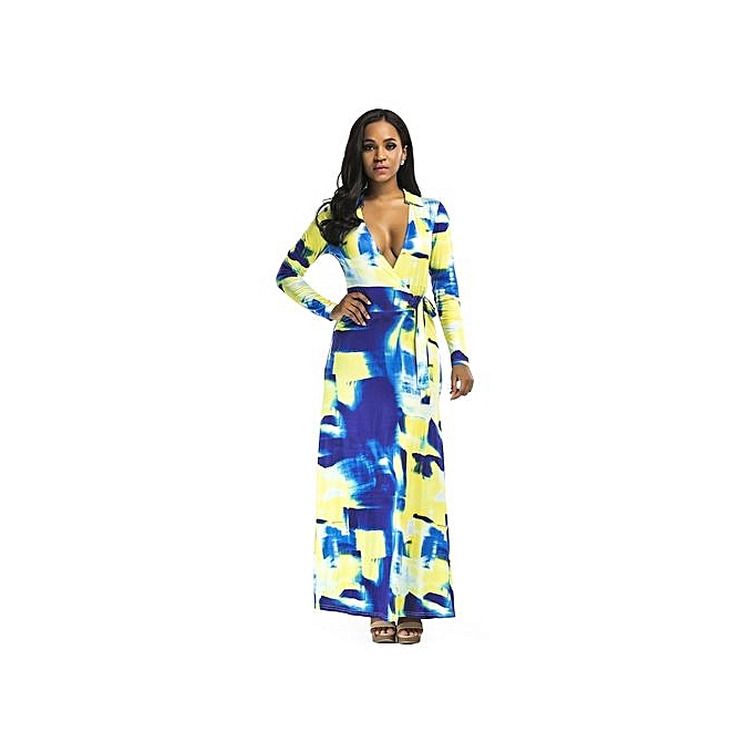Fashion femmes Elegant Midi-Sleeve V-neck Slim Print Floral Autumn Dresses Party Odycon Floot Length Maxi Dresses-bleu jaune à prix pas cher