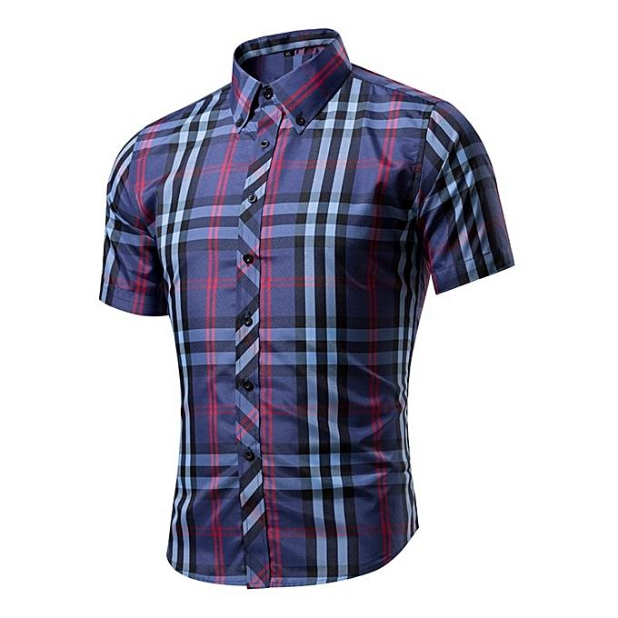 Other nouveau mode 20% Cotton manche courtes Décontracté Hommes& 039;s Plaid Shirts à prix pas cher
