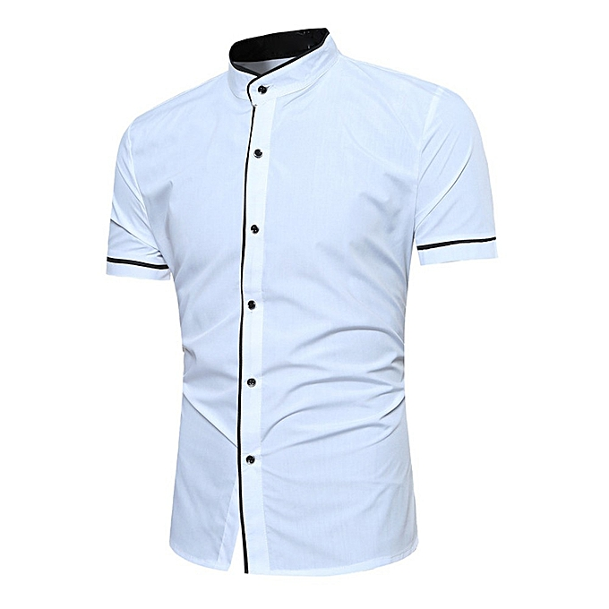 Fashion Fashion Men Slim Fit  Short Sleeve Muscle Tee T-shirt Casual Tops Blouse- blanc à prix pas cher
