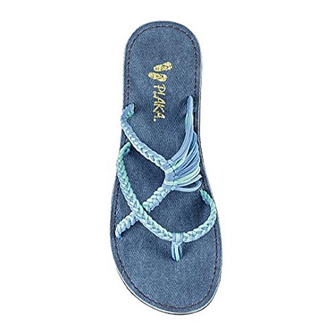 Fashion Large Taille rope knot slippers beach pin toe flat slippers bleu à prix pas cher    Jumia Maroc