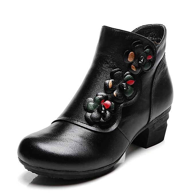 UNIVERSAL WoHommes WoHommes UNIVERSAL  Genuine Leather Flower Vintage Mid Heel Boots Warm Fur Lining Short Shoes à prix pas cher  | Jumia Maroc 5f2b97