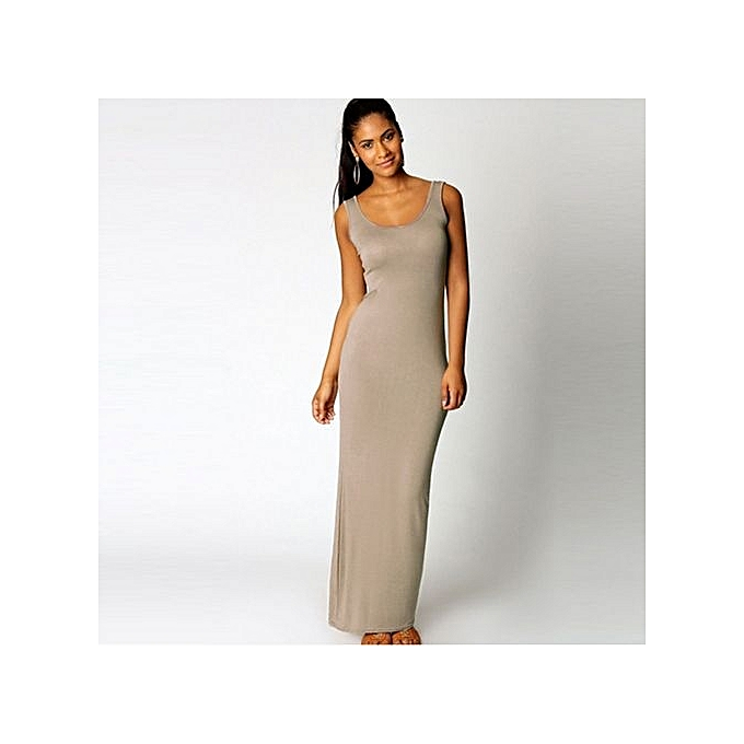 Fashion Wohommes Elegant Sexy Fold Sleeveless Long Vest Dresses-gris à prix pas cher