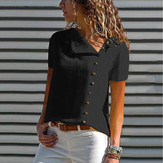 Fashion femmes Casual Lapel Neck T-shirt Ladies Short Sleeve Buckle Blouse Tops à prix pas cher