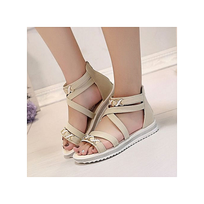 Fashion Xiuxingzi_femmes Flat chaussures Summer Soft Leather Leisure Ladies Sandals Beige 39 à prix pas cher
