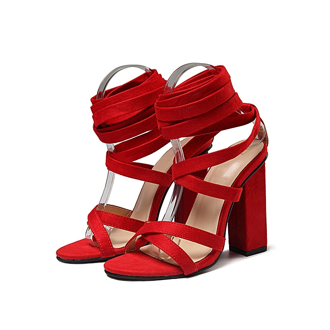 Fashion Strap round head high heel sandals rouge à prix pas cher