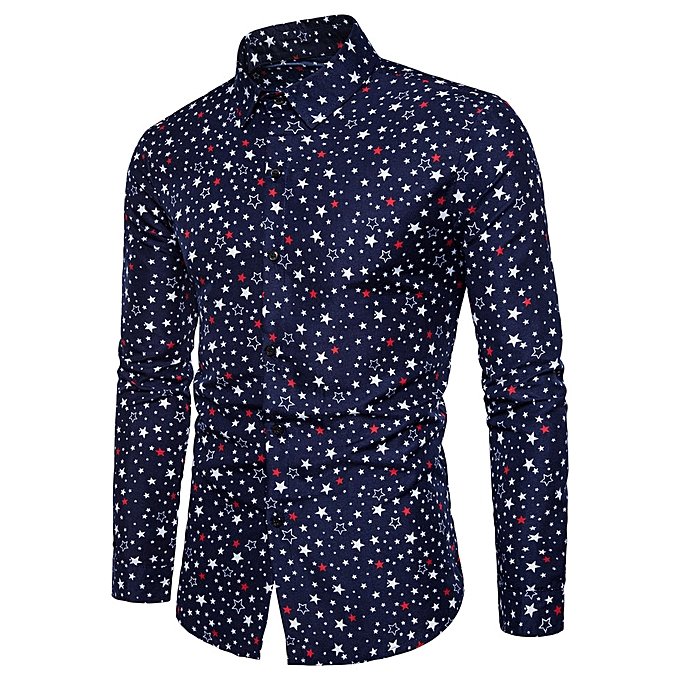 Fashion Fashion Personality Men's Casual Slim Long-sleeved Print Shirt Top Blouse  - Navy à prix pas cher
