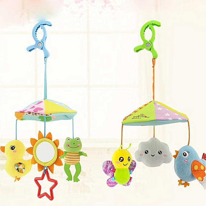 Autre Baby Stroller Crib Pram Bed Hanging Toy Accessories Musical rougeating Plush Cartoon Cute Appease Soothing Hand eye Coordination(Butterfly bird) à prix pas cher