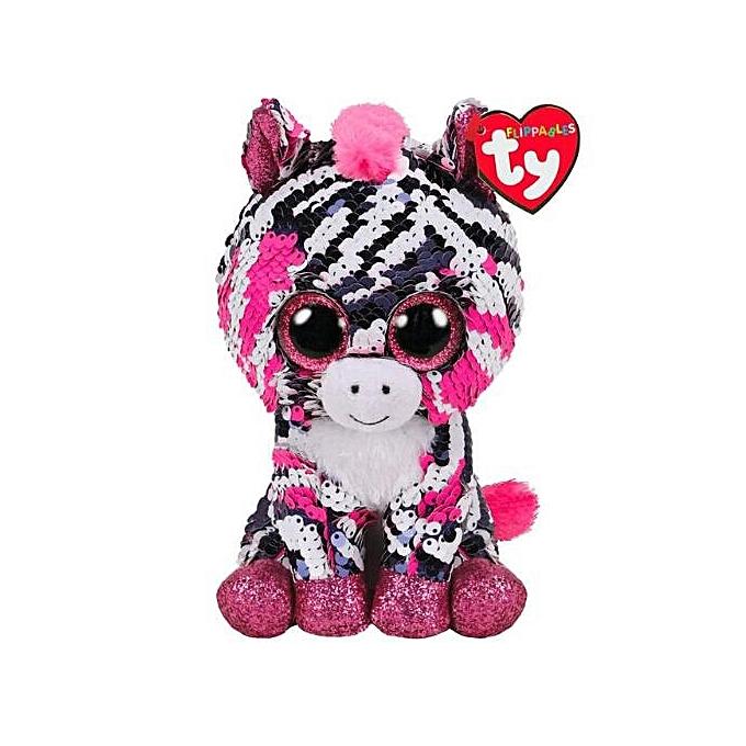 Autre Ty Beanie Boos Sequin Animal Plush Toys Doll Cat Owl Fox Bunny Unicorn Best Christmas Gift 15cm(Zoey the Zebra) à prix pas cher