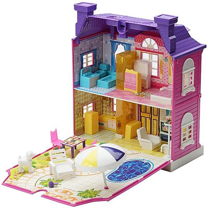 Autre Poplikdfr Ensemble de maison de jouets miniature avec lumière et amp;Music Simulate Villa Dollhouse - Jouet cadeau pour enfants (sans poupée) à prix pas cher