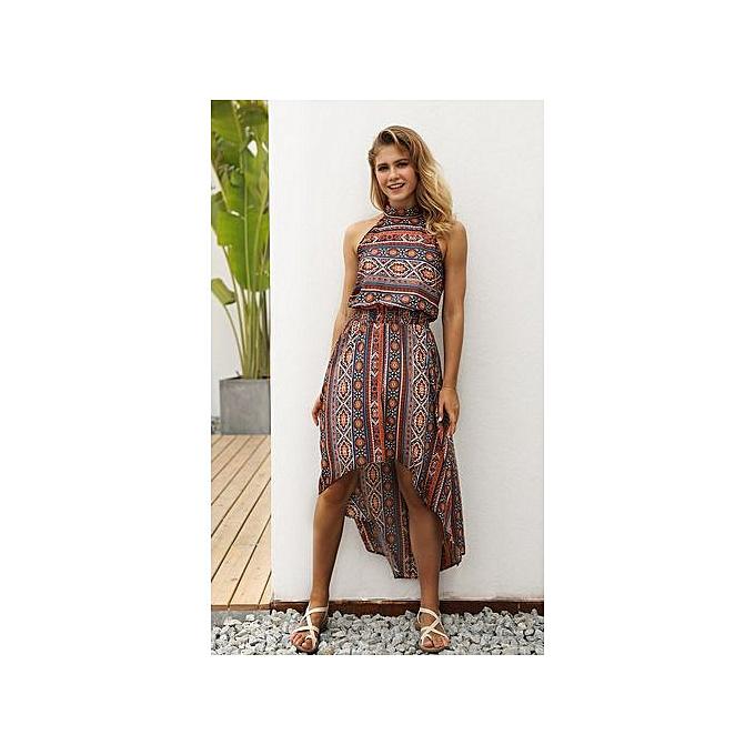 GeneAfrica Orange femmes Halter Robe Printed plage Robees à prix pas cher