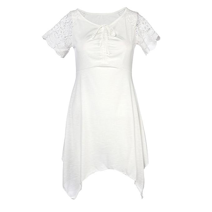 Fashion (Xiuxingzi) femmes Plus S-5XL femmes Irregular Hem Short Sleeve Loose Shirt WH L à prix pas cher