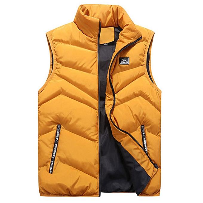 mode Hommes Autumn Winter mode Stand Collar Pure Couleur Waistcoat Vest veste Top Coat à prix pas cher