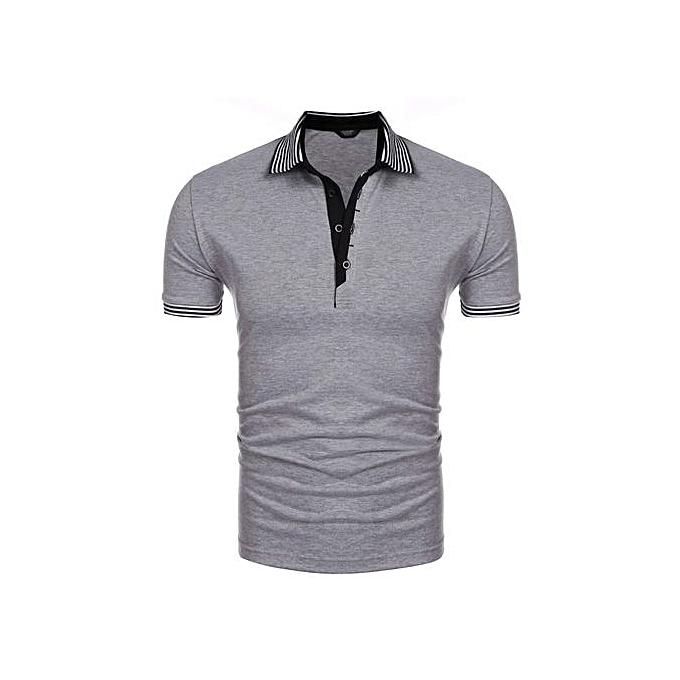 Sunshine Men Turn Down Collar Short Sleeve Polo Shirts Casual Loose T-shirt Tops-gris à prix pas cher