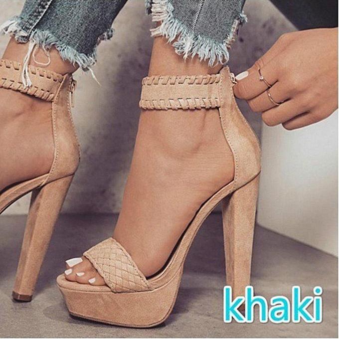 Fashion Fashion Wo  Ankle Strap Platform High Heel prix Sandals Casual Knit Weave Peep Toe Shoes-EU à prix Heel pas cher    Jumia Maroc b90bfb