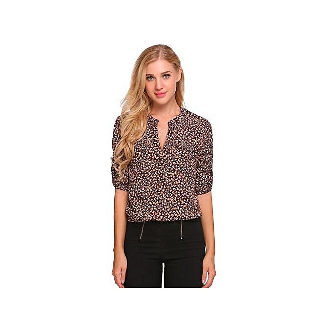 Sunshine femmes Casual Loose V Neck Long Sleeve Floral Print Shirt Blouse-Wine rouge à prix pas cher