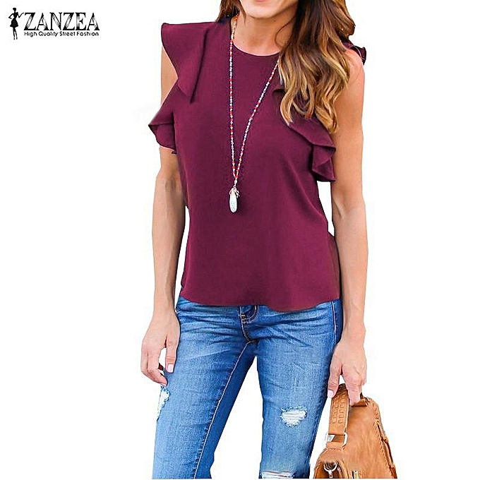 Fashion ZANZEA femmes Summer Casual Tank Tops Ruffles Sleeveless Crew Neck Shirt Tee Camisole Blouse (Wine rouge) à prix pas cher