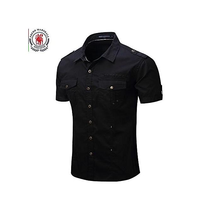 mode 2017 nouveau Arrive Pour des hommes voiturego Shirt Hommes Décontracté Shirt Solid manche courte Shirts Work Shirt With Wash Standard-blanc à prix pas cher
