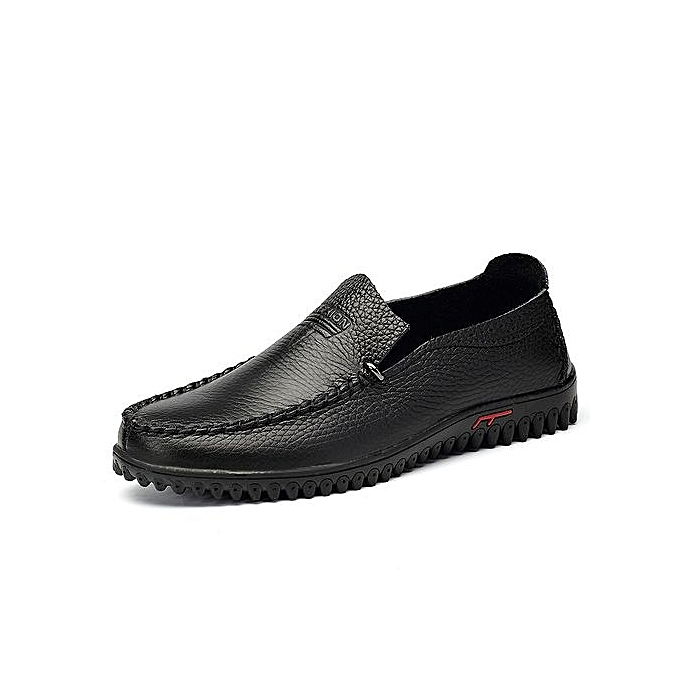 Fashion  s Slip-On Leather Leather Leather Casual Shoes Driving Shoes-Black à prix pas cher  | Jumia Maroc 21a0bc