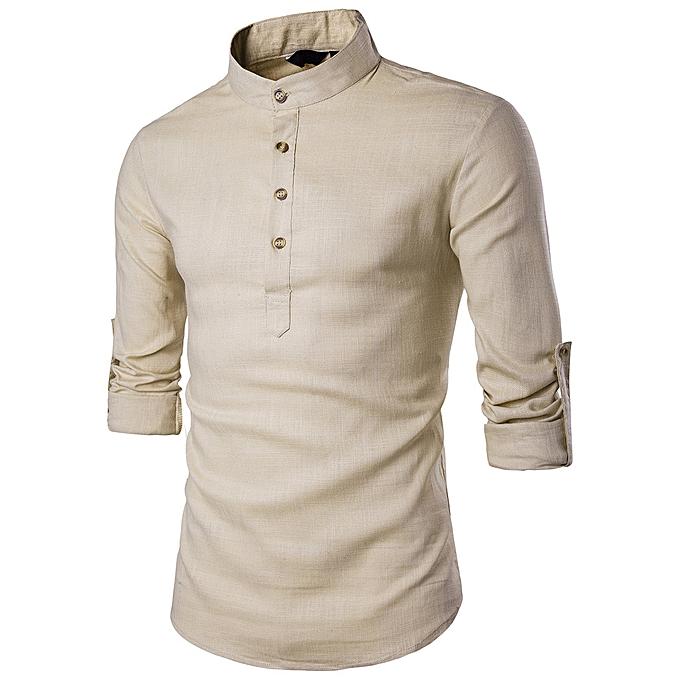 mode jiahsyc store  Hommes Stand Neck manche longue Daily Look Linen Shirts hauts chemisier BG L à prix pas cher