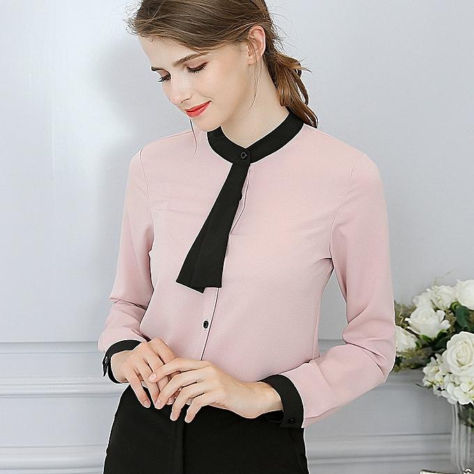 OEM nouveau versatile mode slim Décontracté trend Slim long-sleeved femmes& 039;s shirt-rose à prix pas cher