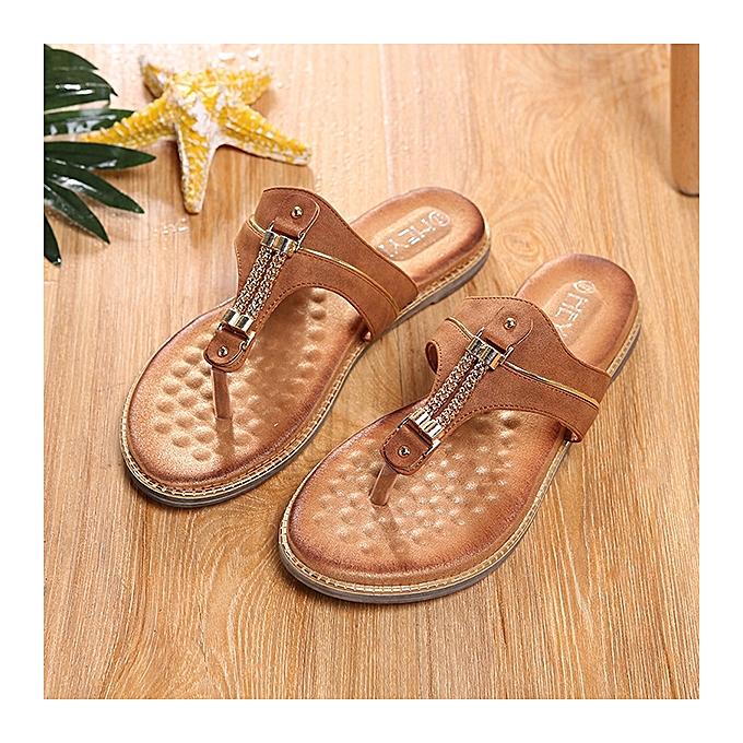 Fashion Flat Heel Flip Flops Soft Insole Rome Style Large Taille Sandals à prix pas cher