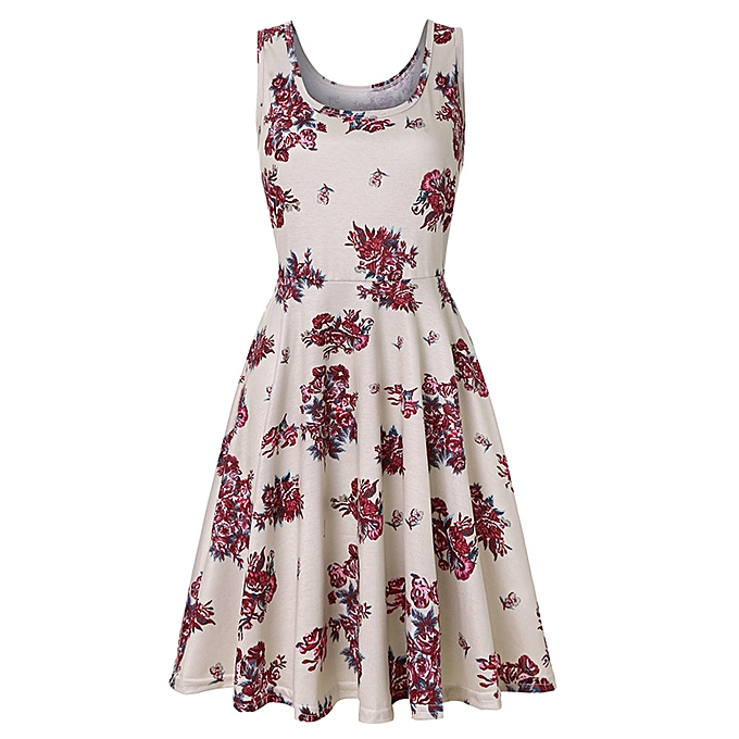 Fashion femmes Sleeveless Printing Summer Beach A Line Casual Dress Floral Dress à prix pas cher