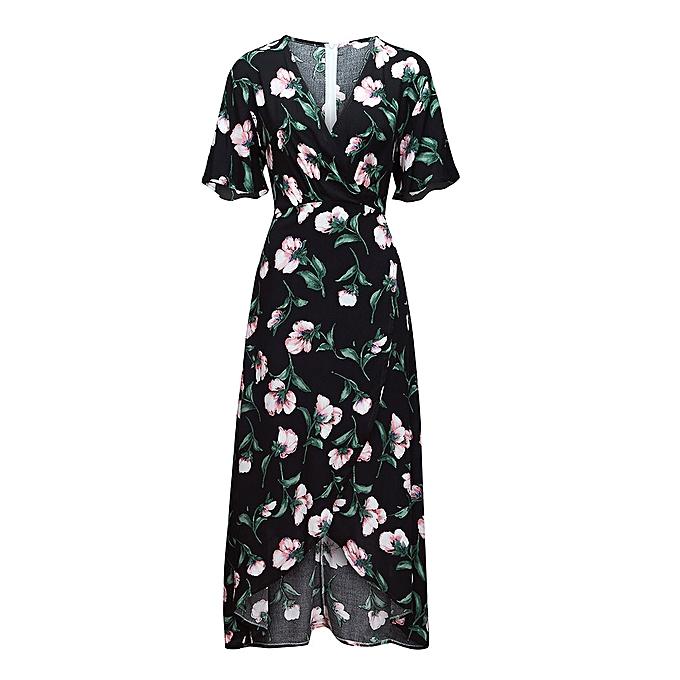 mode femmes été V Neck manche courte Floral Print plage Party mariage Long Robe à prix pas cher