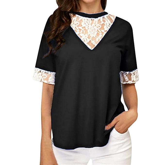 mode meibaol store femmes mode été Lace O-Neck Décontracté T-shirt Tank Top chemisier à prix pas cher