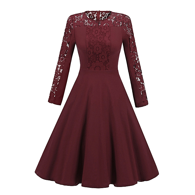 Generic Xiuxingzi femmes New Vintage Lace Formal Patchwork Wedding Cocktail Party Retro Swing Dress à prix pas cher