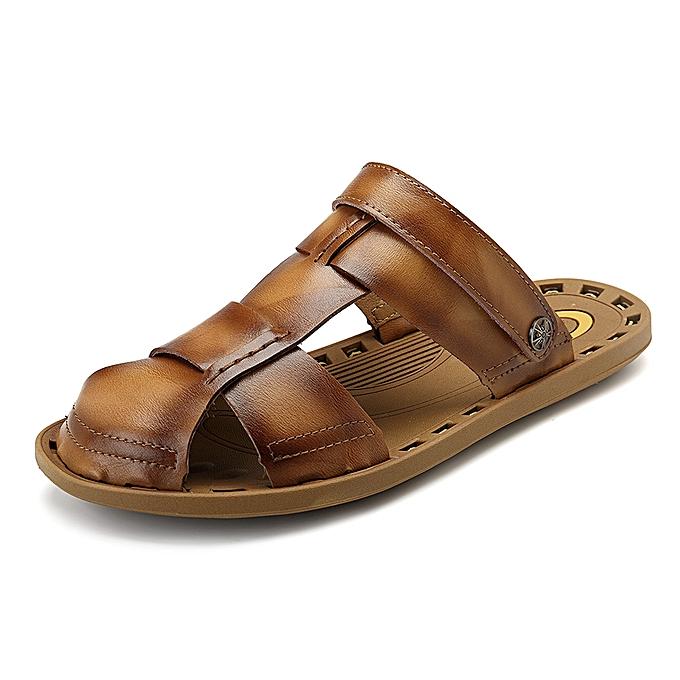 Fashion Men Breathable Leather Soft Sole Sandals Two Way Wear chaussures à prix pas cher