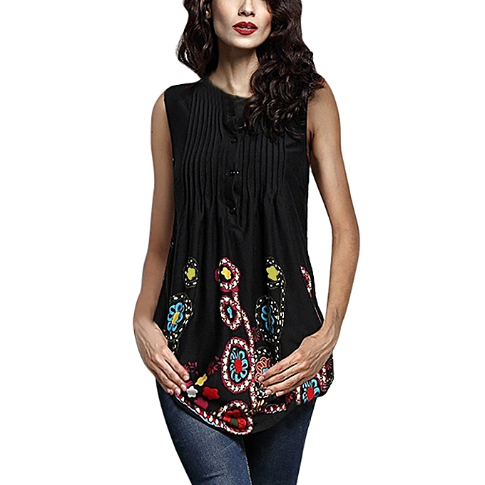 Generic Generic femmes Sleeveless  Circular Neck  Printed hauts Loose grand Taille T-Shirt chemisier  A1 à prix pas cher