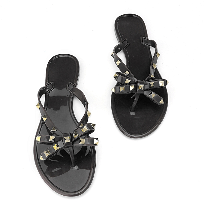 Fashion femmes TOE BOW RIVET JELLY SUMMER FLAT FLIP FLOP BOLT BOWKNOT THONG SANDALS  à prix pas cher