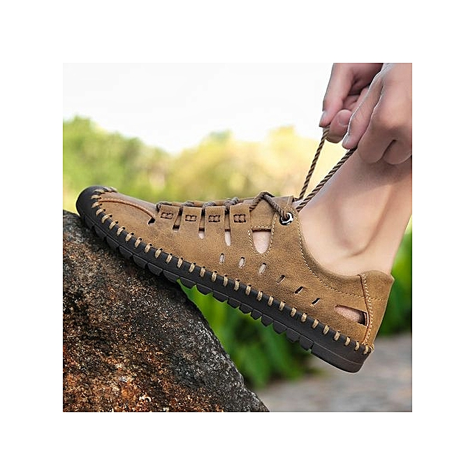 Générique  's Sandals EUR Size 39-46 Beach Water Water Beach Shoes Handmade Leather Shoes Summer Outdoor Sandals Comfortable à prix pas cher    Jumia Maroc 3848a4