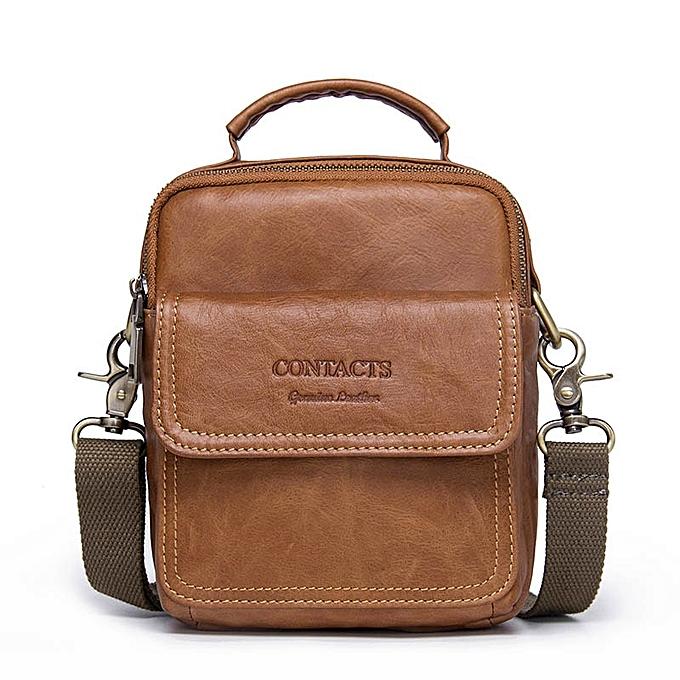 Other CONTACT'S Men's Bag New 2018 Hot Sale  Leather Zipper Bag Man Famous Brand Designers Shoulder Bags Fashion Messenger Bags(marron) à prix pas cher