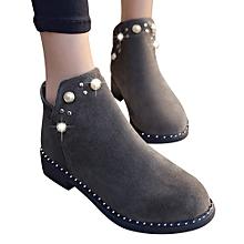5e9c9e3ac28 Jummoon Shop Vintage Women Boot Pearl Shoes Martain Boots Suede Flat Ankle  Boots Zipper Boot