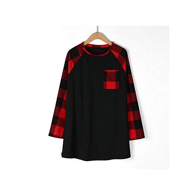 mode Hiamok femmes& 039;s Plaid Plus Taille Patch Pocket manche longue O-Neck T-Shirt hauts chemisier à prix pas cher