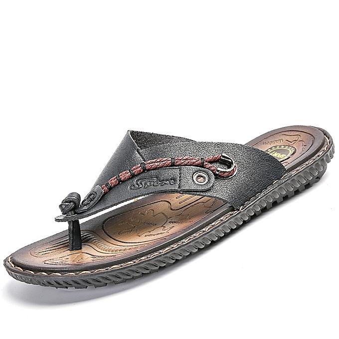 Fashion Men's Slippers Outdoor Beach Sandals - noir à prix pas cher