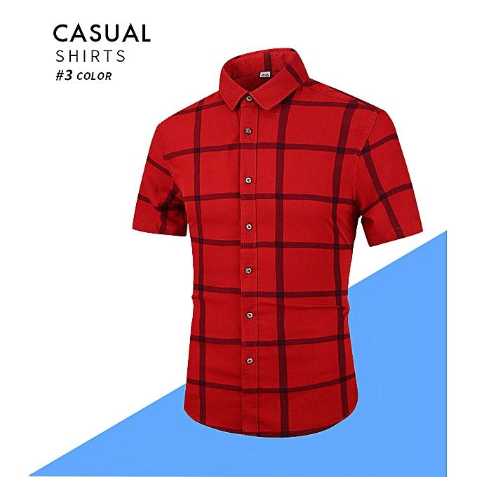 mode été nouveau manche courte Hommes& 039;s shirt big plaid retro Décontracté sleeve shirt male D906-rouge à prix pas cher