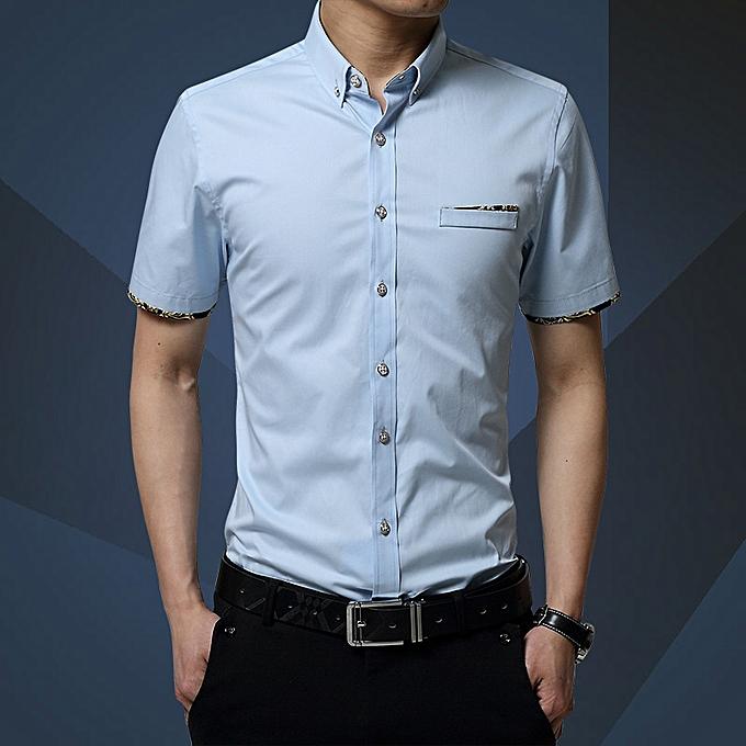 mode mode youth Décontracté thin section Korean version of the trend handsome fat loose courte-sleeved shirt lumière bleu à prix pas cher