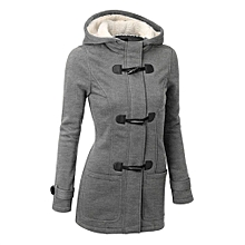 ad98e48de4d Women Hooded Long Section Wool Blend Jacket with Leather Ox Horn Shape  Buckle