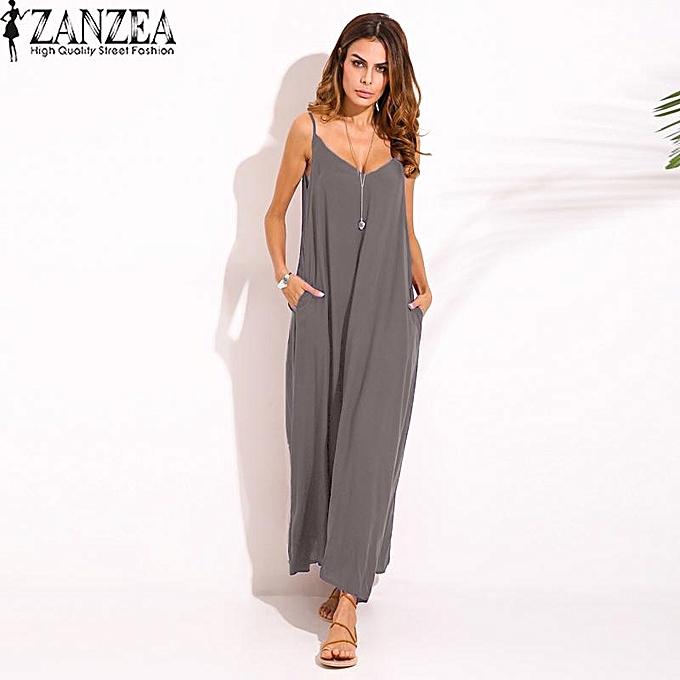 Zanzea ZANZEA S-5XL Beach femmes Summer Beach Boho Spaghetti Straps Plus Taille Deep V Neck Strappy Sundress Long Maxi Dress Vestido (gris) à prix pas cher