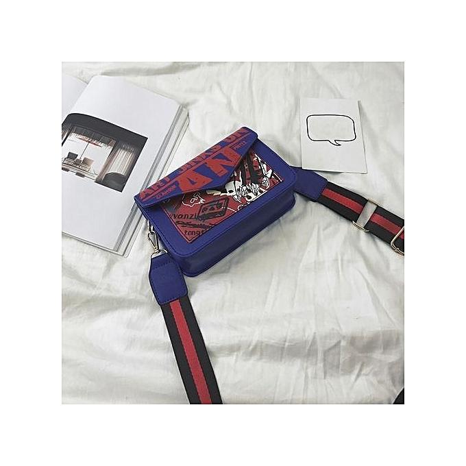 Duoya femmes Letter Handbag Shoulder Bag Messenger Large Tote Leather Ladies Purse BU- bleu à prix pas cher