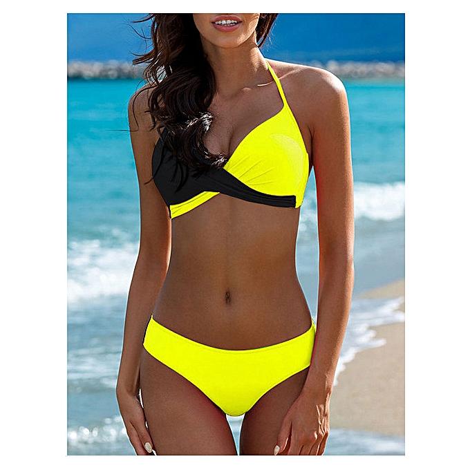 Autre y Bikini 2019 femmes Halter Neck Splice femme maillot de bain Female Swimming Suit Patchwork maillot de bain femmes Bathing Suit Bikinis Set(D) à prix pas cher
