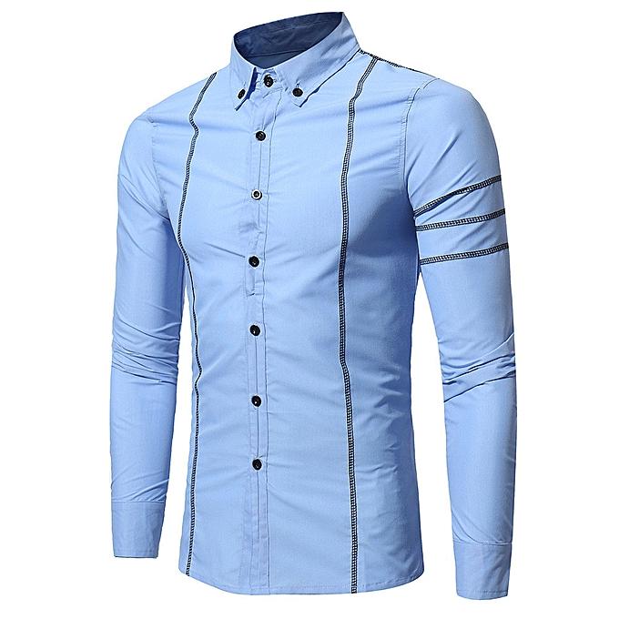 Fashion Fashion Personality Men's Casual Slim Long-sleeved Shirt Top Blouse - SKY bleu à prix pas cher