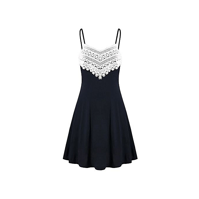 mode Xiuxingzi mode femmes Crochet Lace Backless Mini Slip Robe Camisole Sleeveless Robe à prix pas cher