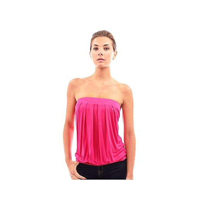 Generic HL Sexy Strapless Pleated Patchwork Slim Solid Couleur T Shirt For femmes (S-XL)(Rose) à prix pas cher